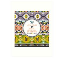 Seamless aztec pattern with geometric elements Art Print