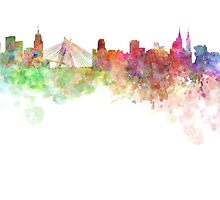 Sao Paulo skyline in watercolor on white background by paulrommer