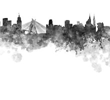 Sao Paulo skyline in black watercolor on white background by paulrommer