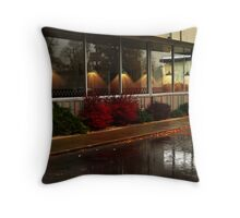 Diner In The Rain Throw Pillow