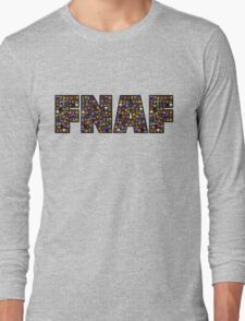 Five Nights at Freddys - Pixel art - FNAF typography (Black BG) Long Sleeve T-Shirt