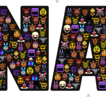 Five Nights at Freddy's - Pixel art - FNAF typography (Black BG) Sticker