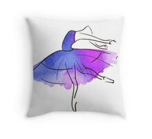 ballerina figure, watercolor Throw Pillow
