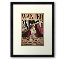 Wanted Mihawk - One Piece Framed Print