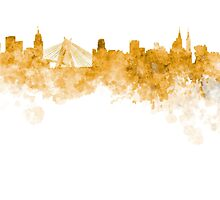 Sao Paulo skyline in orange watercolor on white background by paulrommer