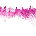 Sao Paulo skyline in pink watercolor on white background by paulrommer