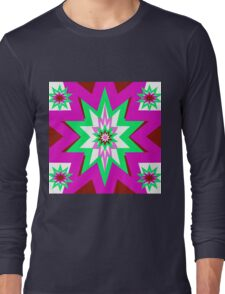 Star Graphic  Pink and Green Long Sleeve T-Shirt