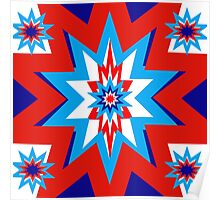 Star Graphic Red White Blue Poster