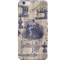 Vintage Sewing Toile iPhone Case/Skin