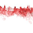 Sao Paulo skyline in red watercolor on white background by paulrommer