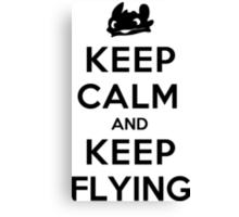 Keep Calm and Keep Flying (Black) Canvas Print