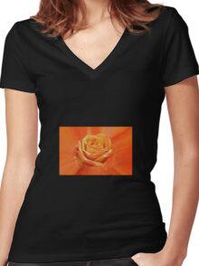 Orange rose Women's Fitted V-Neck T-Shirt