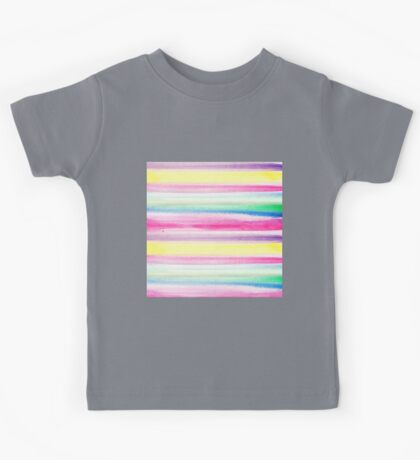 Modern abstract colorful watercolor stripe pattern Kids Tee