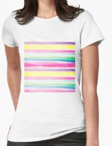 Modern abstract colorful watercolor stripe pattern Womens Fitted T-Shirt