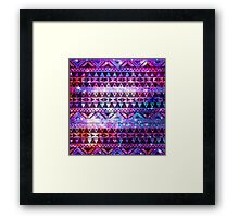 Girly Andes Aztec Pattern Pink Teal Nebula Galaxy Framed Print