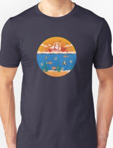 illustration with fishes and ship Unisex T-Shirt