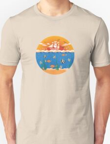 illustration with fishes and ship T-Shirt