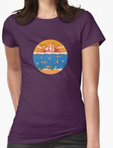 illustration with fishes and ship Womens Fitted T-Shirt