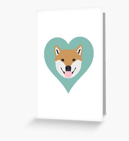 Shiba Love - Heart shiba inu funny dog for dog lovers pet gifts customizable dog meme dog person Greeting Card