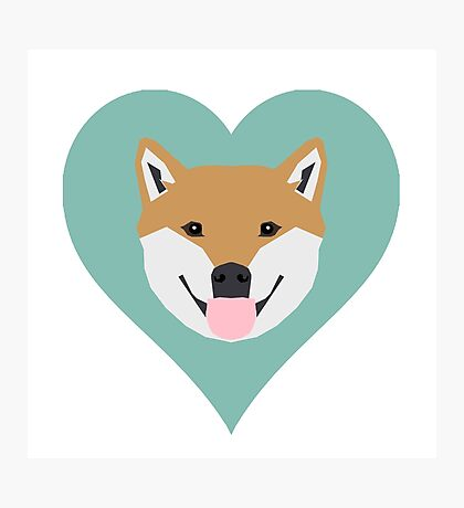 Shiba Love - Heart shiba inu funny dog for dog lovers pet gifts customizable dog meme dog person Photographic Print