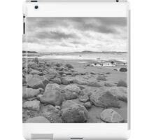 stone wall shelter on a beautiful beach in black and white iPad Case/Skin