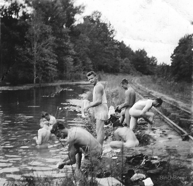 Vintage Skinny Dipping At The Creek US Army During WWII