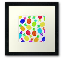 """Funky Fun"" - Ananas Fruit Tropical Hot Pink Neon Fuchsia Fluorescent Orange Green Teal Purple Ultraviolet Yellow Lime Cool Super Fantastic Silly Cute Funny Orange Blue Green Framed Print"