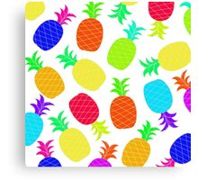 """""""Funky Fun"""" - Ananas Fruit Tropical Hot Pink Neon Fuchsia Fluorescent Orange Green Teal Purple Ultraviolet Yellow Lime Cool Super Fantastic Silly Cute Funny Orange Blue Green Canvas Print"""