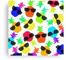 """""""Seriously Cool Ananas"""" - Ananas Fruit Tropical Hot Pink Neon Fuchsia Fluorescent Orange Green Teal Purple Ultraviolet Yellow Sunglasses Lime Cool Super Fantastic Silly Cute Funny Humor   Canvas Print"""