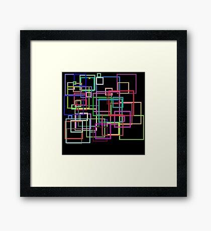 Empty Squares on a black background Framed Print