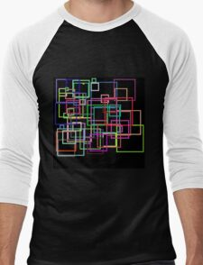 Empty Squares on a black background Men's Baseball ¾ T-Shirt