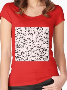 Abstract black watercolor Dalmatian spots pattern Women's Fitted Scoop T-Shirt