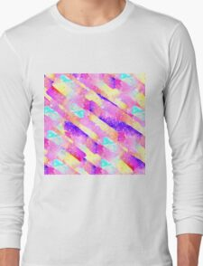 Abstract colorful rainbow watercolor brushstrokes Long Sleeve T-Shirt
