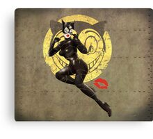 Catwoman War Pin Up Bombshell Canvas Print