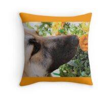 Sniff the Flowers Throw Pillow