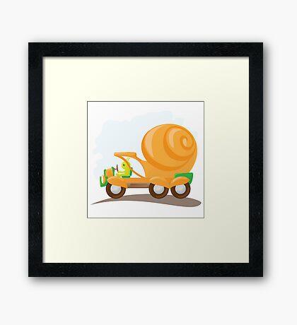 Orange snail car in cartoon style. Framed Print