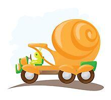 Orange snail car in cartoon style. Photographic Print