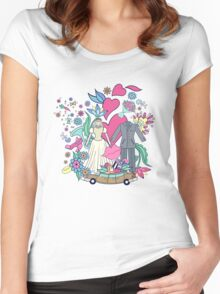 Hand drawn on the wedding elements.  Women's Fitted Scoop T-Shirt