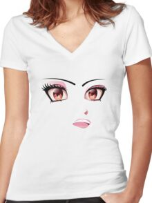 Cute face 3 Women's Fitted V-Neck T-Shirt
