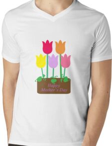 Happy Mother's Day Tulips Mens V-Neck T-Shirt