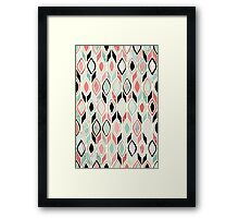 Patchwork Pattern in Coral, Mint, Black & White Framed Print