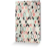Patchwork Pattern in Coral, Mint, Black & White Greeting Card