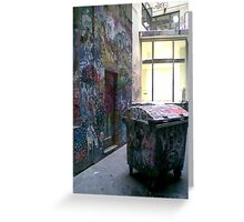 Graffito the Dumpster Poses Outside Company Headquarters Greeting Card
