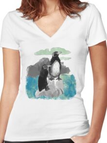 Penguins Watercolored Women's Fitted V-Neck T-Shirt