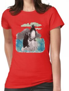 Penguins Watercolored Womens Fitted T-Shirt
