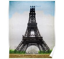 Eiffel Tower 1889 Colorized Near Completion Paris France Poster