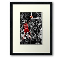 Michael Jordan flying toward the hoop Framed Print