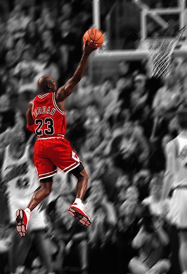 Michael Jordan flying toward the hoop by Jeff Hathaway