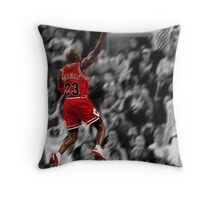 Michael Jordan flying toward the hoop Throw Pillow