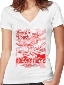 Shingeki no Hibachi (Attack on Hibachi) Women's Fitted V-Neck T-Shirt